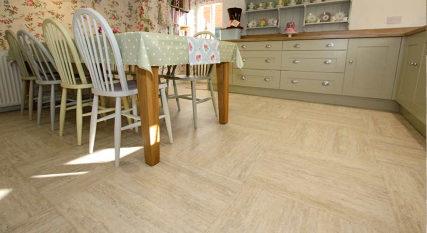 Stone effect flooring in a kitchen