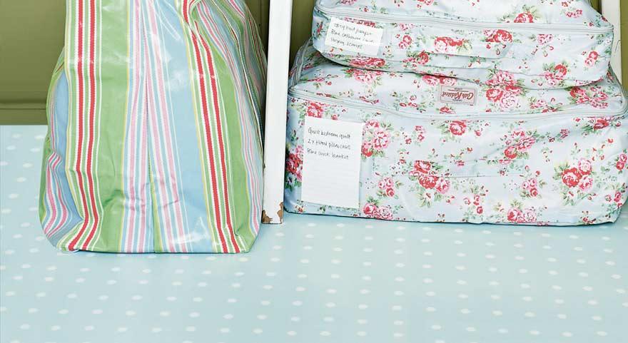 spot blue polka dot utility room floor
