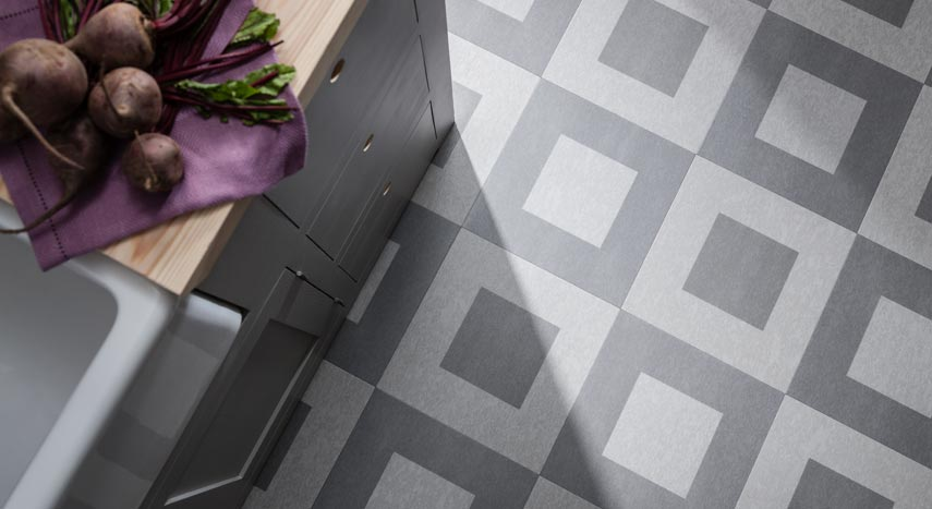 stone effect checkered flooring in kitchen