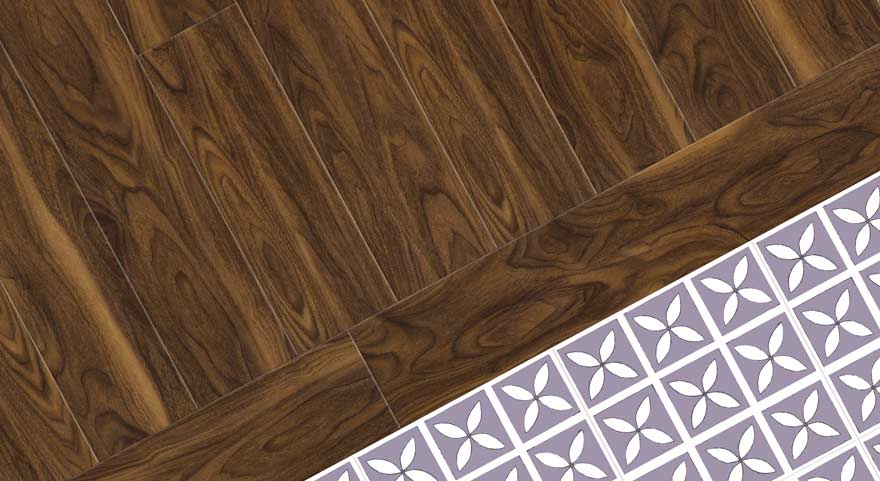 wood effect with purple vinyl floor