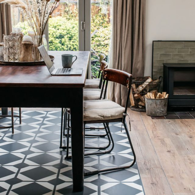 Check dining room floor with wood border