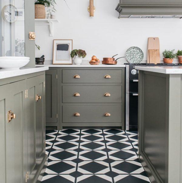 monochrome vinyl floor tiles in green devol kitchen