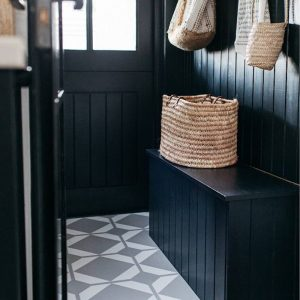 patterned vinyl grey floor in boot room