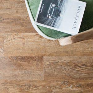 english oak effect wood planks in living room