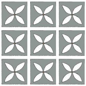 dark grey patterned vinyl floor tile petal design
