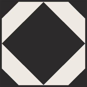 monochrome geometric floor tiles