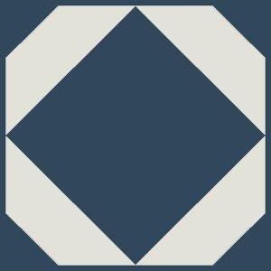 deep blue geometric floor tiles