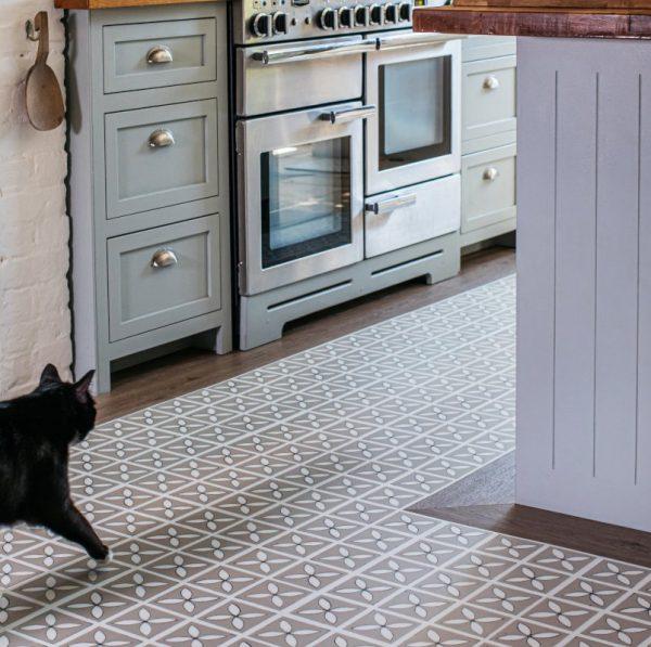 lattice pattern in a rustic kitchen floor