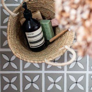 lattice pattern tiles for bathroom flooring