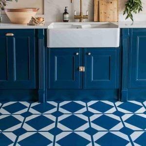 oxford blue pattern lvt flooring for modern kitchen space