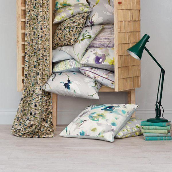 white oak floor with rattan wardrobe