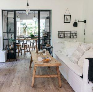 Tawn wood LVT flooring in modern rustic living room