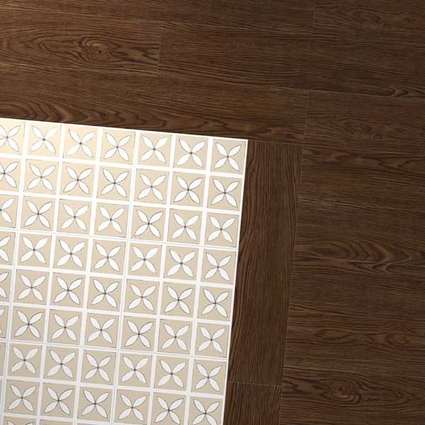 Antique oak floor with cream petal pattern