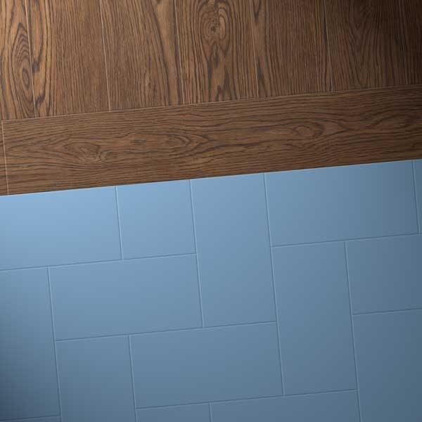 Oak vinyl planks with blue flooring