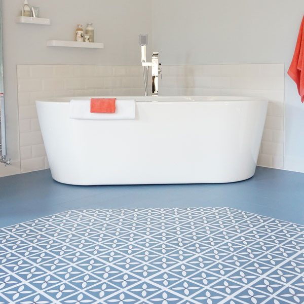Blue designer bathroom flooring