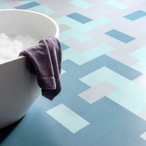 Bay blue flooring in a bathroom