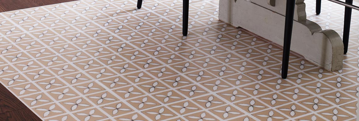 Beige Designer Vinyl Flooring with Lattice Pattern