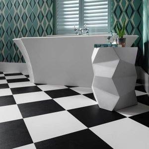 Black & White Checkered Floor In A Bathroom