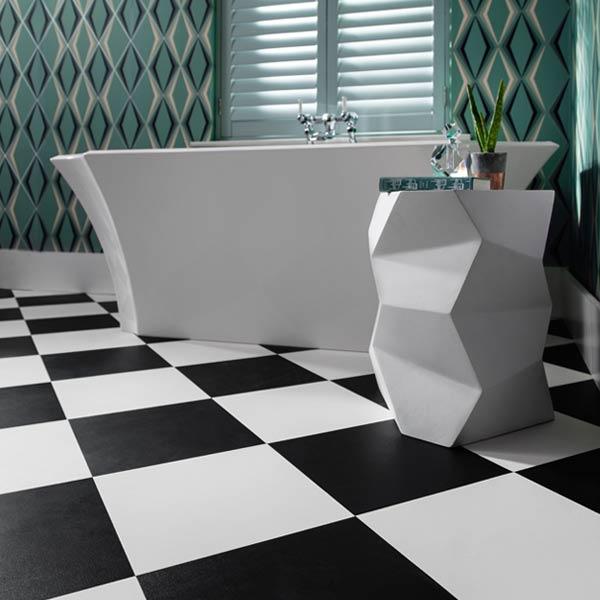 Black White Checkered Floor In A Bathroom