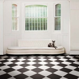 Black and white chequer board floor