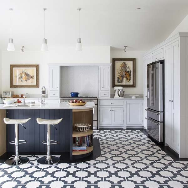 black white designer kitchen floor