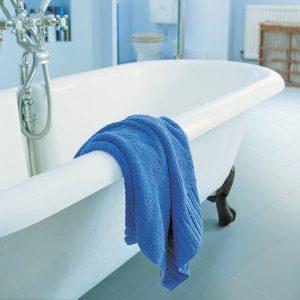 Blue floor in a bathroom