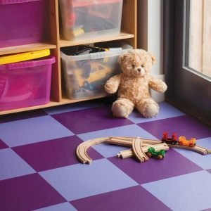 Blue and purple checkerboard floor