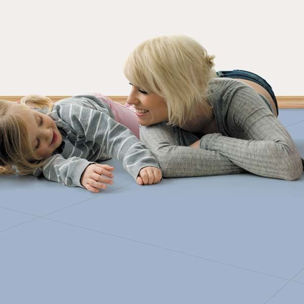 Light blue rubber flooring and mother with daughter