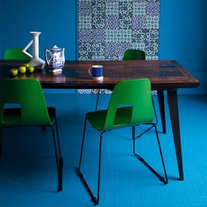 blue rubber flooring with dimple effect under dining table