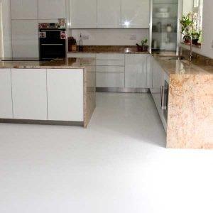 White vinyl floor in a ktichen
