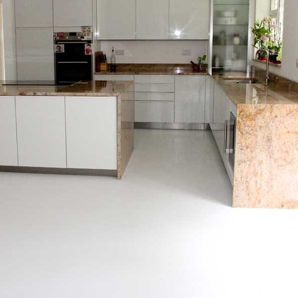White vinyl floor in a ktichen