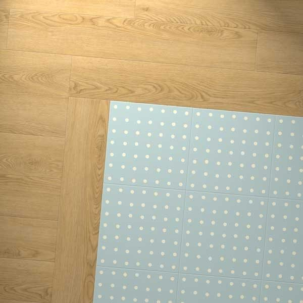 oak vinyl flooring with polka dot blue floor