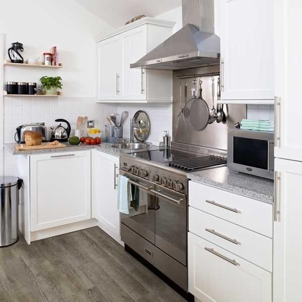 grey vinyl wood in a kitchen