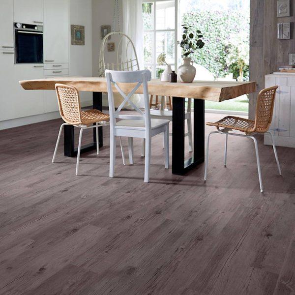wood effect plank lvt flooring in modern rustic kitchen