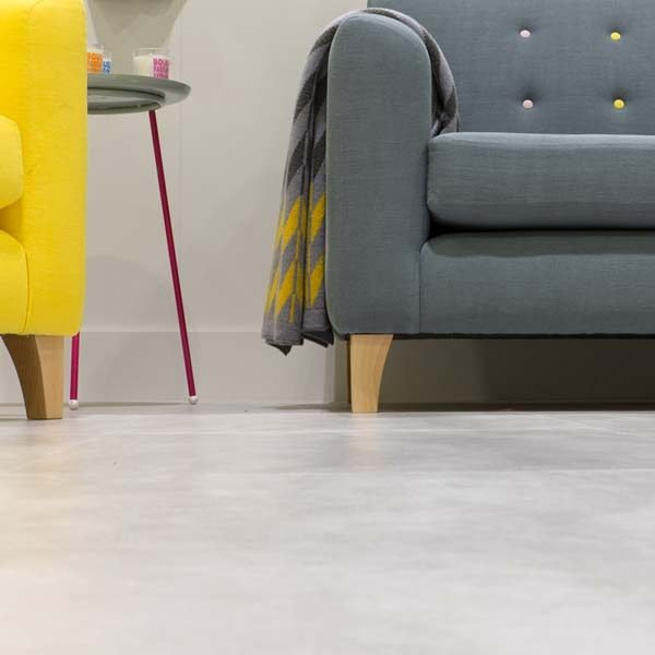 Light concrete vinyl floor in a living room