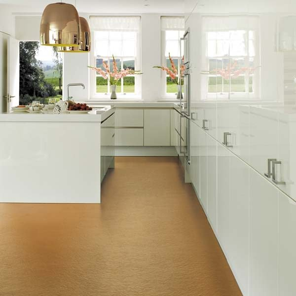 Copper textured flooring in a kitchen