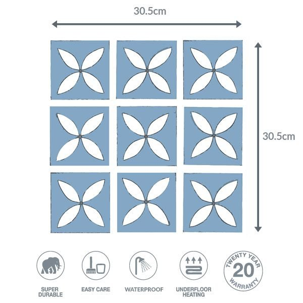 blue floor dimensions