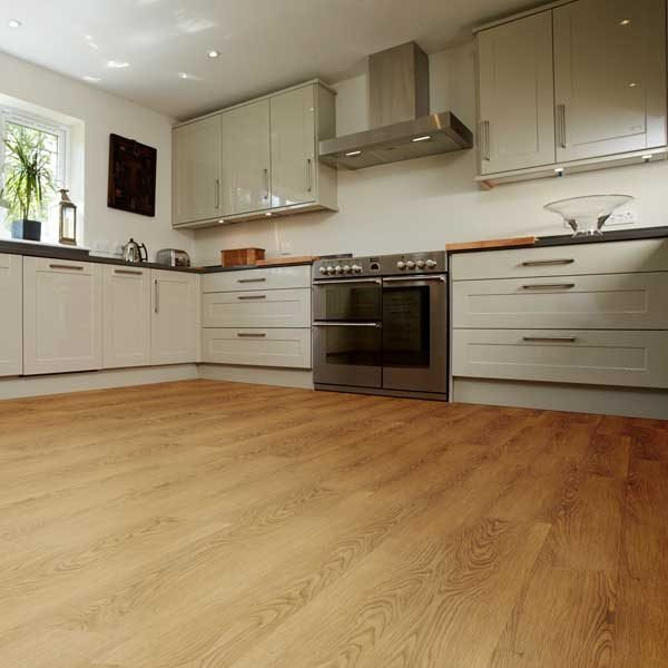 vinyl oak flooring in a kitchen