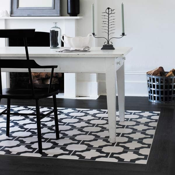 black wood border with parquet charcoal design