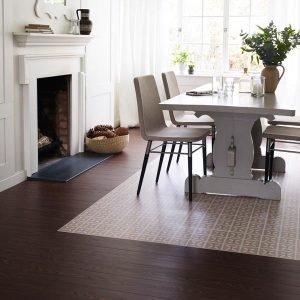 Dark wood planks with cream floor