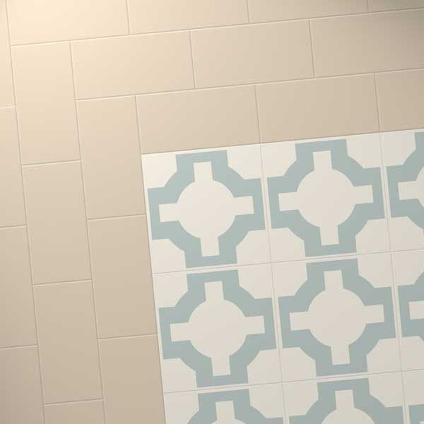 cream vinyl floor with eggshell floor