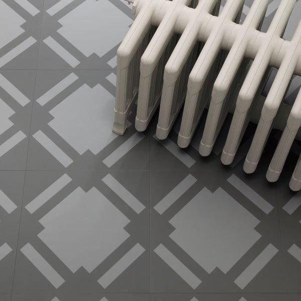 Garphite floor tiles with radiator