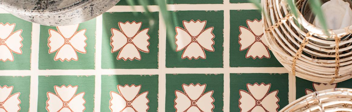 green vinyl flooring in pattern conservatory