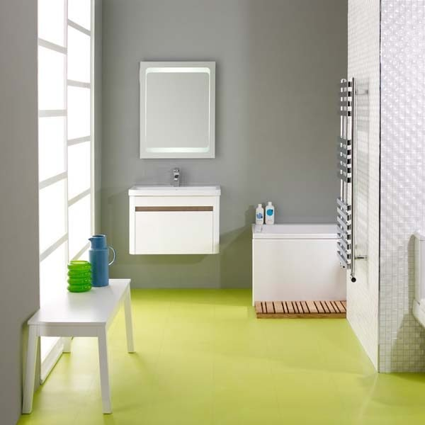 Green vinyl floor in a bathroom