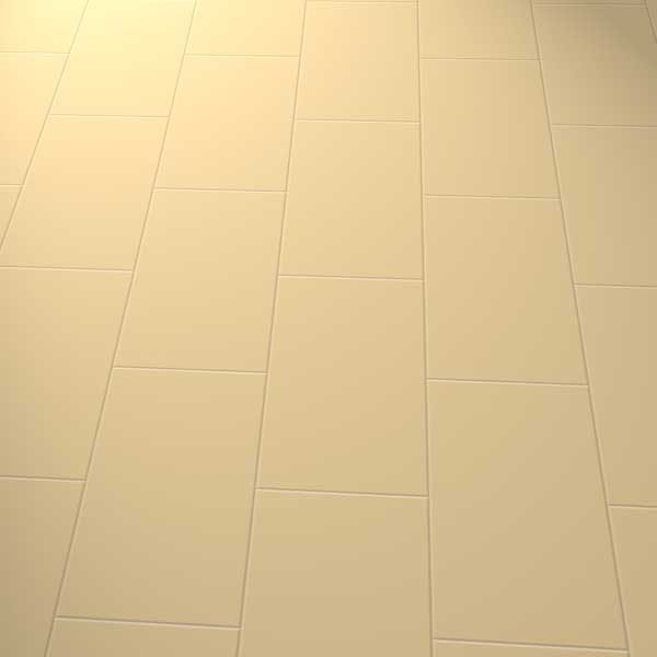 Plain beige vinyl floor in a brick laying pattern