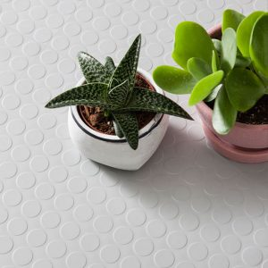white rubber dimple floor tiles