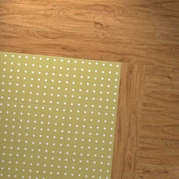 Yellow spot floor with golden border