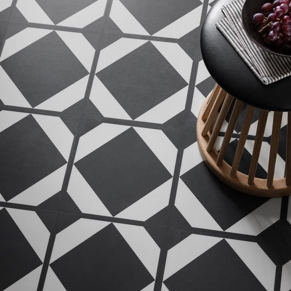 Black and white decorative floor tile