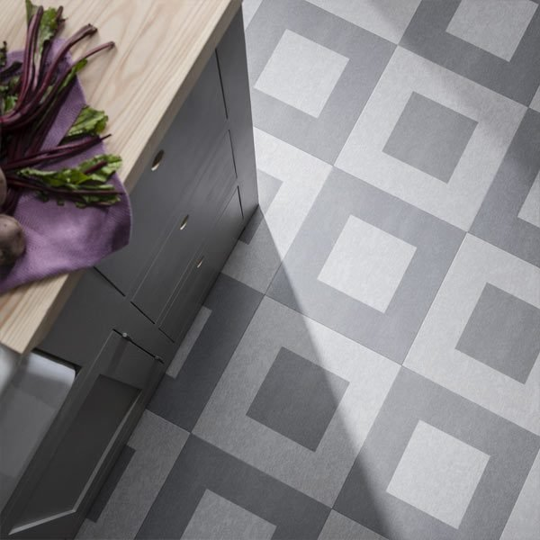 Kitchen grey checkered floor