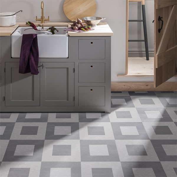 Checkered Kitchen grey patterned floor